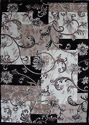 MODERN ABSTRACT ORIENTAL AREA RUG BEIGE BROWN CHOCO BLACK MANY SIZES UP TO 5X7