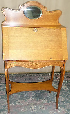 ANTIQUE Oak Slant Front Writing Desk With Oval Mirror