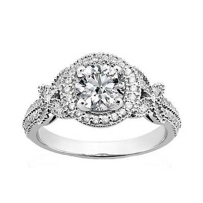 Butterfly-inspired 2.50 ct. TW Round Diamond Vintage Engagement Ring in Platinum