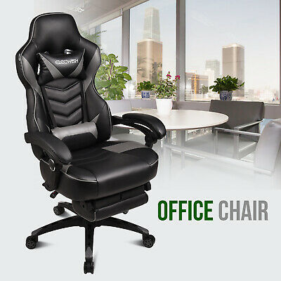 Ergonomic Ribbed High Back Executive PU Leather Computer Desk Office Chair White