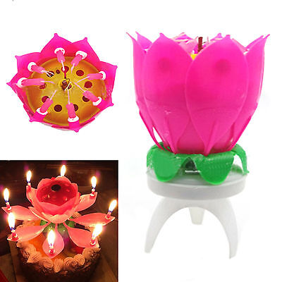 High Single-deck Decor Musical Blossom Cake Topper Birthday Candle Lotus Flower