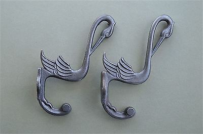 Pair Of Beautiful Arts And Crafts Stork Hook Cast Iron Coat Bird Coathook Rack