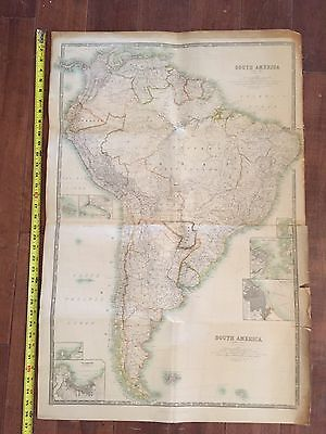 1916 South America Map Keith Johnston's General Atlas 24x36