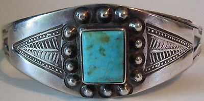 Vintage Navajo Indian Applied Silver Square Turquoise Cuff Bracelet