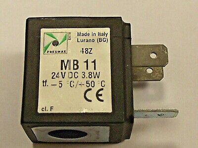 Pneumax MB11 24v DC Solenoid Coil 3.8 Watt, New for use with many Pneumax Valves
