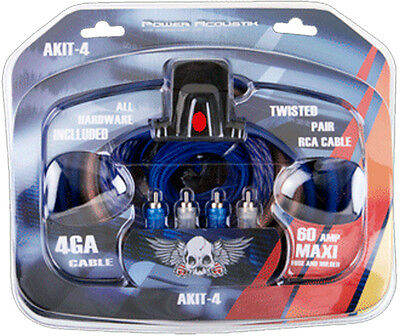 Power Acoustik AKIT-4  Car Audio Complete Amplifier Installation Kit 4-Gauge New