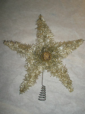 Vintage Tinsel Star Christmas Tree Topper Silver Cream Color Light Gold Sparkly