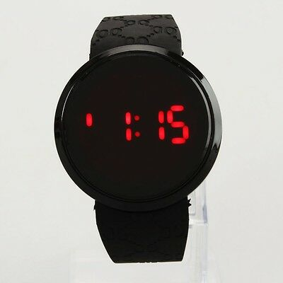 Fashion Men's LED Digital Touch Screen Silicone Sport Day Date Wrist Watch Black