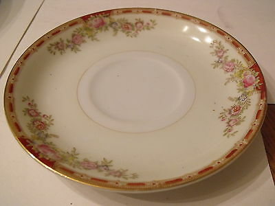 Grace China Ogden Made in Japan Saucer Red Band Pink Floral on Cream