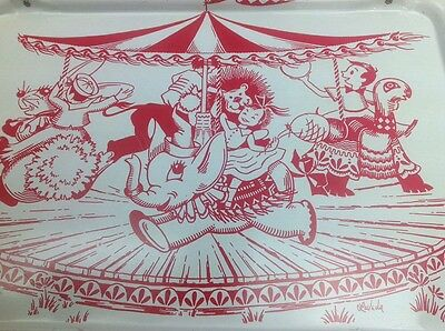 Vintage Quaker Merry Go Round Circus LaVada TV Lap Tray Table Metal 1960s MCM