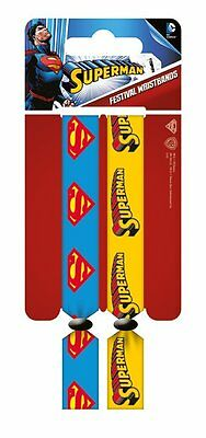 DC Comics Superman Pack Of 2 Fabric Festival Wristbands BY PYRAMID FWR680018