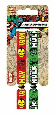 Marvel Retro (Iron Man & Hulk) Pack Of 2 Fabric Festival Wristbands BY PYRAMID