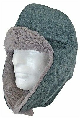 Vintage 1970s Swiss army grey wool fur lined winter hat cap Switzerland military
