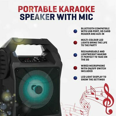 Bluetooth Karaoke Machine Portable Party Lights Mics LED Light Speaker Songs MP3