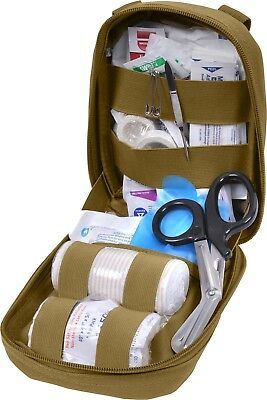 Coyote Brown MOLLE Tactical Trauma Kit Fully Stocked