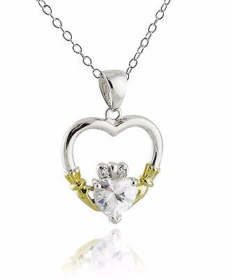 CZ Charm Celtic Irish Love NEW Claddagh Heart Necklace 925 Sterling Silver