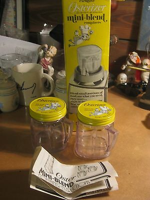 3 Vintage Osterizer Mini Blend Blender Containers Oster Original Box