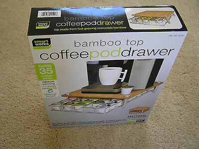 NEW Smart Works Bamboo Top Stackable Coffee Pod Drawer Holds 35 Coffee Pods