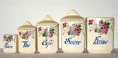 French Floral Ceramic Canister Set 5 Total Sugar Tea Flour Coffee Flora