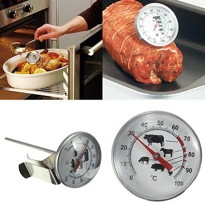 Cooking Oven BBQ Milk Food Meat Probe Stainless Steel Thermometer Gauge 100°C