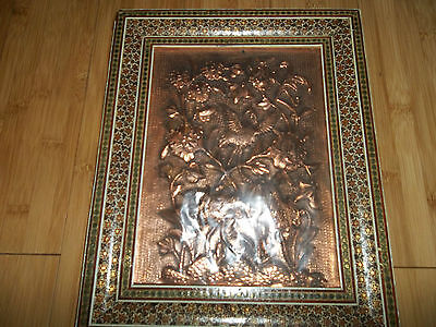 Antique, VINTAGE  Persian, COPPER PICTURE FRAMED/ HAND MADE