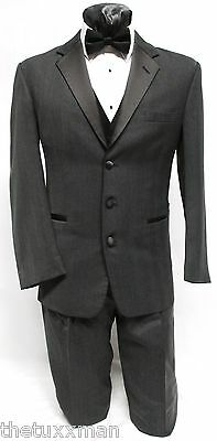 48 L Mens Chaps Ralph Lauren Charcoal Gray 3 Button Tuxedo Package Prom Wedding