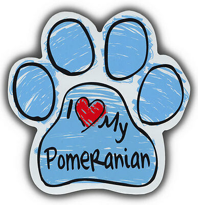 Scribble Paw Dog Magnets: I LOVE MY POMERANIAN | Cars, Trucks, Refrigerators