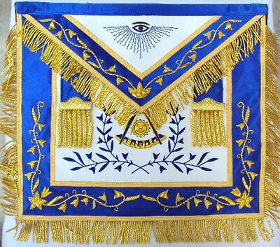 Hand Embroider Masonic Past Master Apron Blue Silk Border Gold Embroidery