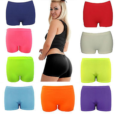 Womens Ladies Stretchy Neon Lycra Dance Gym Lot Party Hot Pants Shorts Knicker