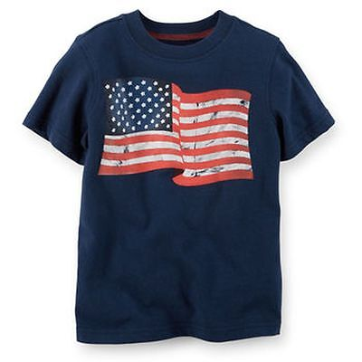 New Carter's USA Navy Blue with Flag July 4th Top NWT 2t 3t 4t 5t 4 5 6 7 Kid