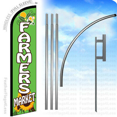 WINDLESS Swooper Feather Banner Sign Flag 15' KIT - FARMERS MARKET gf