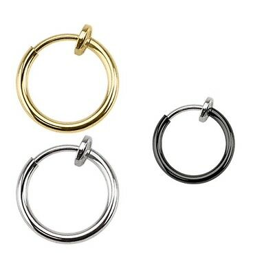 Fake Clip On Spring Nose Hoop Ring Ear Septum Lip Eyebrow Earring Piercing