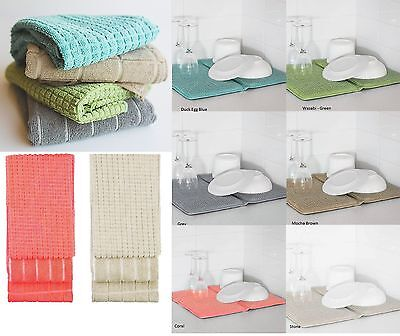 New Bambury Deluxe Dish Drying Mat or 3 Pce Microfibre Kitchen Tea Towels Pack
