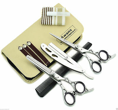 "Hairdressing Barber Salon Scissors 6"", Thinning Scissors 6"" & Shaving Razor Set"