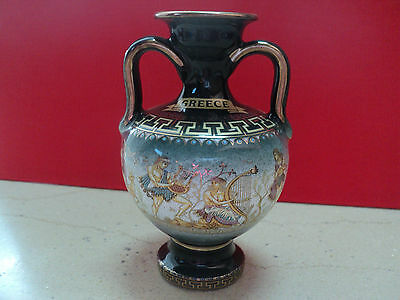 SMALL Greek Amphora Vase 24K Gold Hand Made in Greece -green color
