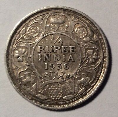 1936 British India George V Quarter 1/4 Rupee Coin