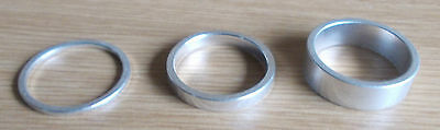 """Bike Bicycle Cycle Silver Ahead 1 1/8"""" Alloy Headset Spacers 2mm 5mm 10mm"""