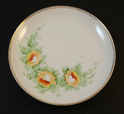 """7.75"""" Plate Sevres Bavaria Hand Painted Dish Gold Rim Flowers Double Stamped"""