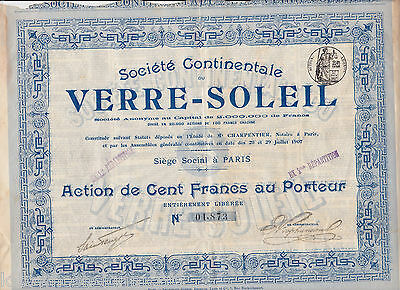 VERRE SOLEIL CONTINENTAL GLASS SUN FRENCH COMPANY ANTIQUE STOCK CERTIFICATE 1907