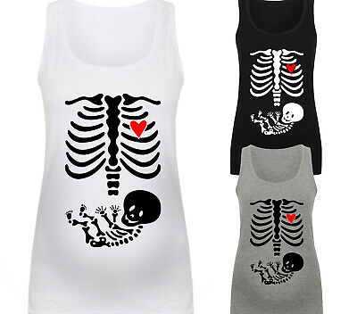 Womens Skeleton Baby Maternity Vest Top Fun Halloween Cute Pregnancy Baby Gift