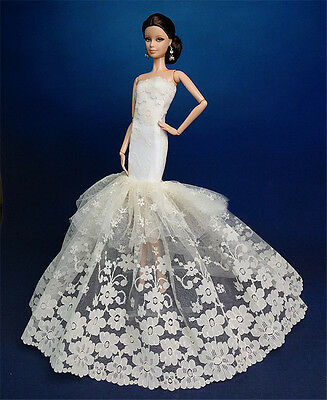 Royalty Mermaid Dress/Party Dress/Wedding Clothes/Gown For Barbie Doll F-08U