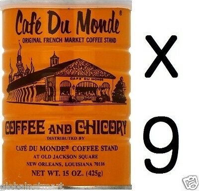 """""""Free Shipping"""" Lots of 9 Cans Café Du Monde Coffee Chicory 15 OZ (135Oz Total)"""