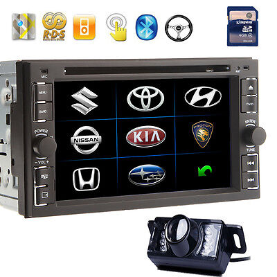 """Free Cam+In-Dash 6.2"""" Double 2DIN Car DVD Player BT Touch iPod SWC Radio Stereo"""