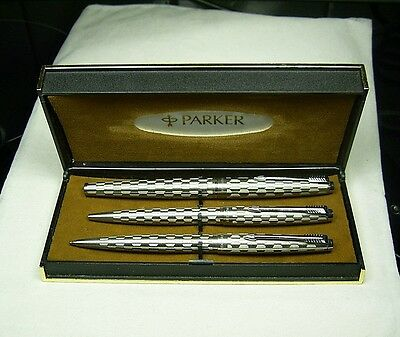 English Parker 45 Harlequin Trio Set. Grey Shield/CPT. 1981. Cased. Excl/Nr Mint