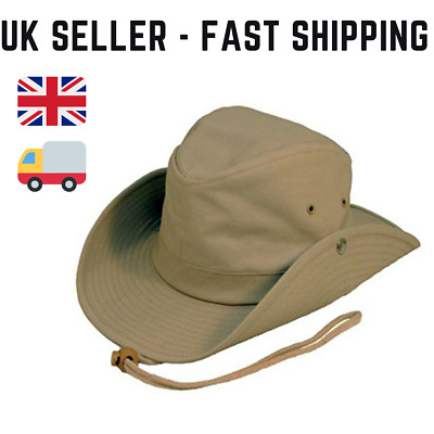 Australian Style Outback Bush Hat with chin cord  studs. 3 colours  fast post
