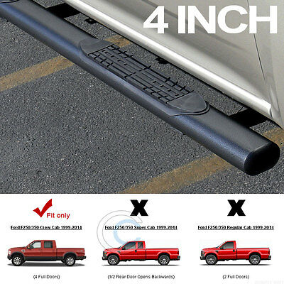 """4"""" Hammered Blk Oval Side Step Bars Running Boards 99-16 F250 Superduty Crew Cab"""