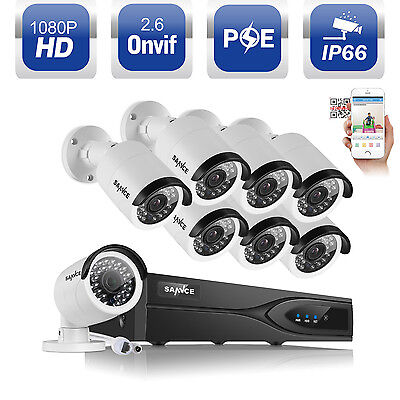 ANNKE 8CH NVR PoE Outdoor 1080P 2.0MP IR CCTV Security Camera System Network Kit