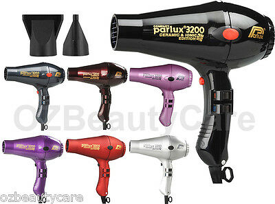 Parlux 3200 Ionic+Ceramic Compact Hair Dryer + 2 Nozzles - Selected Colours