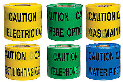 150mm x 365m Non Adhesive Underground Warning Barrier Safety Tapes Qty 1 Roll