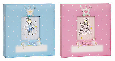 Prince / Princess Baby Girl Boy Polka Dot 6 x 4 Pink Blue Photo Album Holds 200
